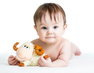 baby boy lying on tummy with lamb toy