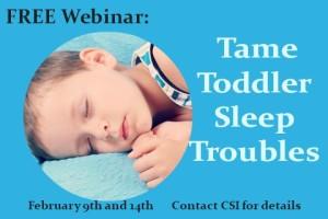 Free Toddler Webinar web graphic.Child Sleep Institute